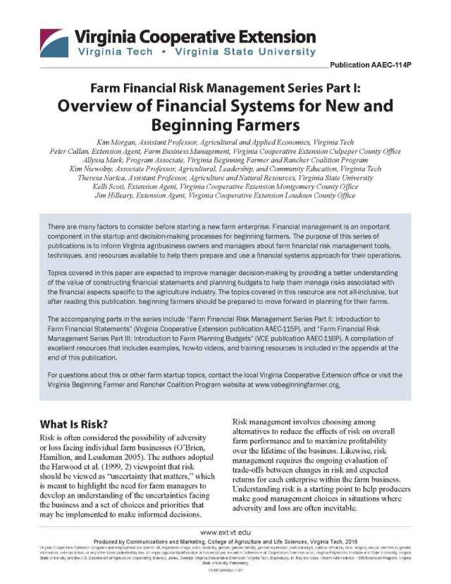 Overview of Financial Systems for New and Beginning Farmers