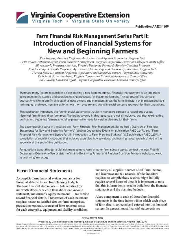 Introduction of Financial Systems for New and Beginning Farmers