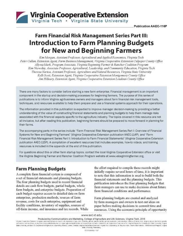 Introduction to Farm Planning Budgets for New and Beginning Farmers